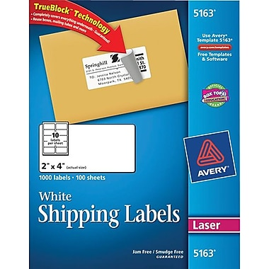 Avery Laser Shipping Labels with TrueBlock™, 2