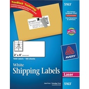 Avery® 5163 White Laser Shipping Labels with TrueBlock™, 2 x 4, 1,000/Box
