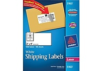 Avery® 5163 White Laser Shipping Labels with TrueBlock™, 2' x 4', 1,000/Box