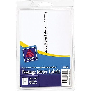 Avery® 5289 Postage Meter Labels for Pitney Bowes Personal Post Office, 1 3/16in. X 6in.