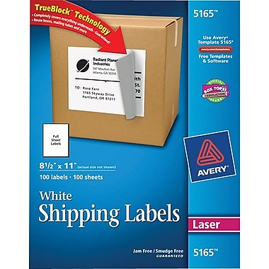 Avery 5165 White Laser Full Sheet shipping Labels with TrueBlock™, 8-1/2in. x 11in., 100/Box