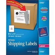 Avery® 5165 White Laser Full Sheet shipping Labels with TrueBlock™, 8-1/2 x 11, 100/Box
