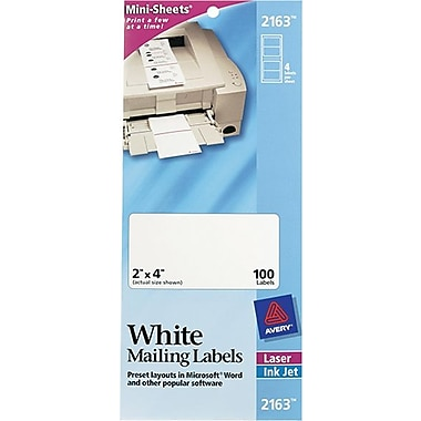 Avery 2163 Mini-Sheets White Inkjet/Laser Shipping Labels, 2in. X 4in., 100/Box