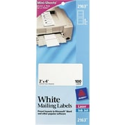 Avery® 2163 Mini-Sheets™ White Inkjet/Laser Shipping Labels, 2 X 4, 100/Box