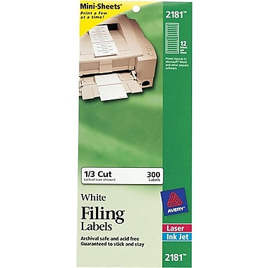 Avery® 2181 Mini-Sheets™ White Inkjet/Laser Filing Labels, 2/3in.x3-7/16in., 300/Box