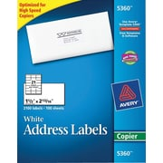 Avery® 5360 White Copier Address Labels, 1-1/2 x 2-13/16, 2,100/Box