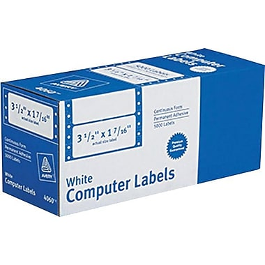 Avery 4060 White Pin-Fed Computer Labels, 3-1/2in. x 1-7/16in., 5,000/Box