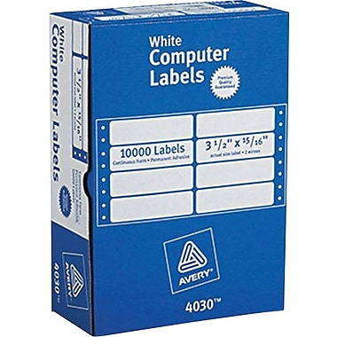 Avery 4030 White Pin-Fed Computer Labels, 3-1/2in. x 15/16in., 10,000/Box