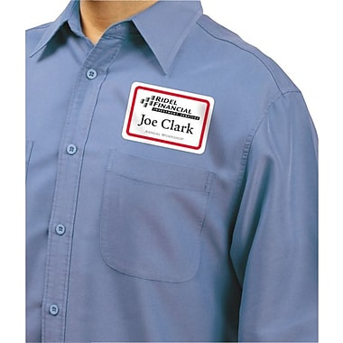 Avery® Self-Adhesive Name Badge Labels, 2 1/3in. x 3 3/8in., White with Red Border, 400/Pack