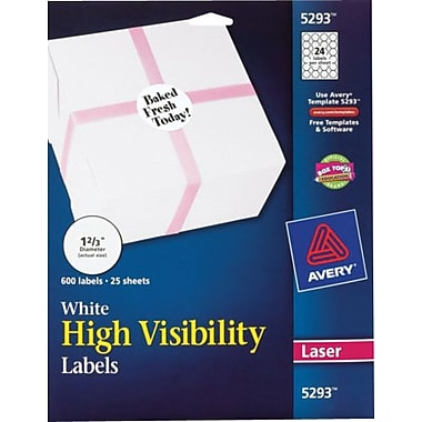 Avery® White High-Visibility Labels for Laser Printers 5293, 1-2/3in. Diameter, Pack of 600