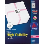 Avery® White High-Visibility Labels for Laser Printers 5293, 1-2/3 Diameter, Pack of 600