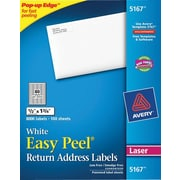 Avery® 5167 White Laser Return Address Labels with Easy Peel®, 1/2 x 1-3/4, 8,000/Box