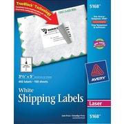 Avery® 5168 White Laser Shipping Labels with TrueBlock™, 3-1/2 x 5, 400/Box