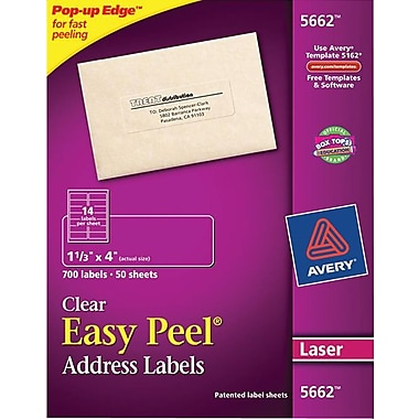 Avery 5662 Clear Laser Address Labels with Easy Peel®, 1-1/3in. x 4in., 700/Box