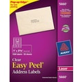 Avery 5660 Clear Laser Address Labels with Easy Peel®, 1in. X 2-5/8in., 1,500/Box