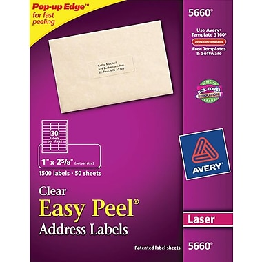 avery 1 x 2 5 8 5660 clear laser address labels with easy peel 1 500 box staples