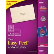Avery® 5660 Clear Laser Address Labels with Easy Peel®, 1 X 2-5/8, 1,500/Box