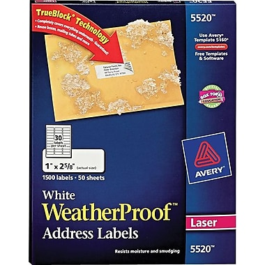 Avery 5520 White WeatherProof Address Labels, 1in. X 2-5/8in., 1,500/Box