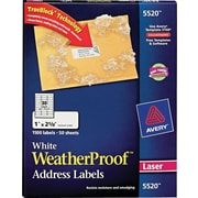 Avery® 5520 White WeatherProof™ Address Labels, 1 X 2-5/8, 1,500/Box