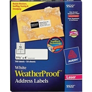 Avery® 5522 White WeatherProof™ Address Labels, 1-1/3 X 4, 700/Box
