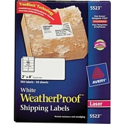 Avery® 5523 White WeatherProof™ Shipping Labels, 2 X 4, 500/Box