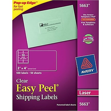 Avery 5663 Clear Laser Shipping Labels with Easy Peel®, 2in. X 4in., 500/Box