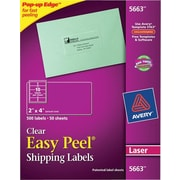 Avery® 5663 Clear Laser Shipping Labels with Easy Peel®, 2 X 4, 500/Box