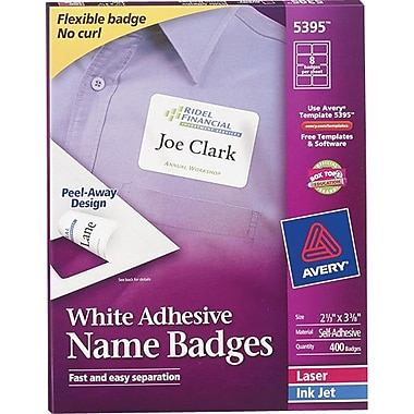 Avery Self-Adhesive Name Tag Labels White 2 1/3