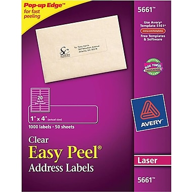 Avery 5661 Clear Laser Address Labels with Easy Peel®, 1in. X 4in., 1,000/Box