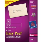 Avery® 5661 Clear Laser Address Labels with Easy Peel®, 1 X 4, 1,000/Box