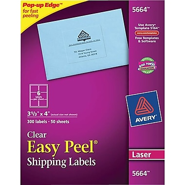 Avery 5664 Clear Laser Shipping Labels with Easy Peel®, 3-1/3in. X 4in., 300/Box