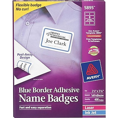 Avery® Self-Adhesive Name Tag Labels, 2 1/3