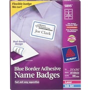 Avery® Self-Adhesive Name Badge Labels, 2 1/3 x 3 3/8, White with Blue Border, 400/Pack