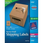 "Avery® 5783 Brown Kraft Inkjet/Laser Shipping Labels, 5-1/2"" x 8-1/2"", 50/Box"