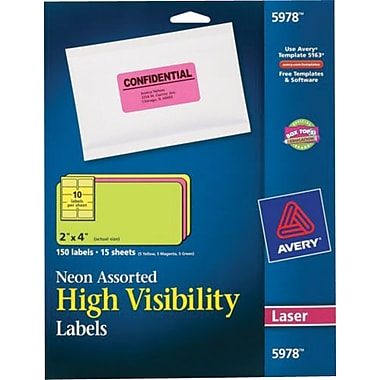 Avery 5978 Neon Laser Shipping  Labels, 2in. x 4in., Assorted Colors, 150/Box