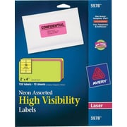 Avery® 5978 Neon Laser Shipping  Labels, 2 x 4, Assorted Colors, 150/Box