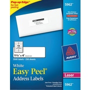 Avery® 5962 White Laser Address Labels with Easy Peel®, 1-1/3 x 4, 3,500/Box