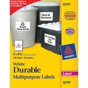 Avery® 6579 White Permanent Durable ID Laser Labels, 5 x 8-1/8, 100/Pack
