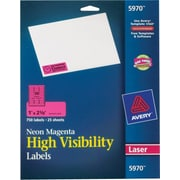 Avery® 5970 Neon Laser Address  Labels, 1 X 2-5/8, Neon Magenta, 750/Box