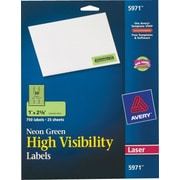 Avery® 5971 Neon Laser Address  Labels, 1 X 2-5/8, Neon Green, 750/Box