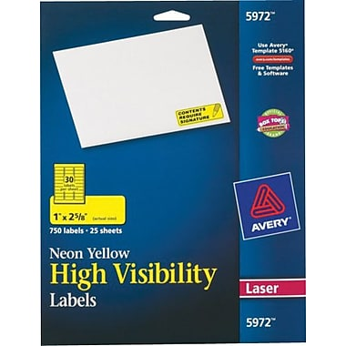 Avery® 5972 Neon Laser Address Labels, 1 X 2-5/8in., Neon Yellow, 750/Box