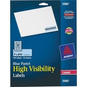 Avery® 5980 Neon Laser Address  Labels, 1 X 2-5/8, Pastel Blue, 750/Box
