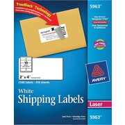 Avery® 5963 White Laser Shipping Labels with TrueBlock™, 2 x 4, 2,500/Box