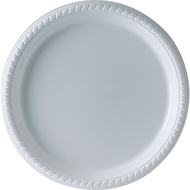 SOLO Plastic Party Plates, 9in., White, 25/Pack