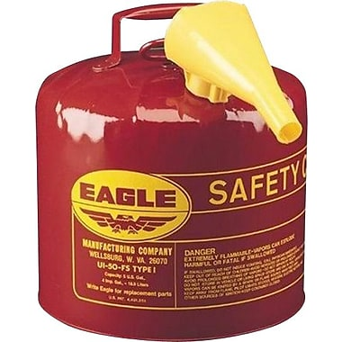 EAGLE Type I Flame Retardant Galvanized Steel Red Safety Can, Includes Funnel, 7 lbs.