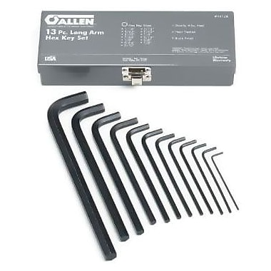 Allen® Tools 13 Pieces Long Arm Hex Key Set, Alloy Steel, 1/16 - 1/2in.