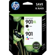 HP 901XL Black High Yield/901 Standard Color Ink Cartridges (CZ722FN#140) Combo 2/Pack