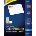 Avery 8257 Color Printing Matte White Inkjet Return Address Labels, 3/4in. x 2-1/4in., 600/Box