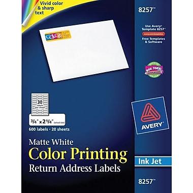 Avery 8257 Color Printing Matte White Inkjet Return Address Labels, 3/4in. x 2-1/4in., 600/Box