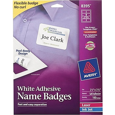 Avery® Self-Adhesive Name Badge Labels, White, 2 1/3in. x 3 3/8in., 160/Pack